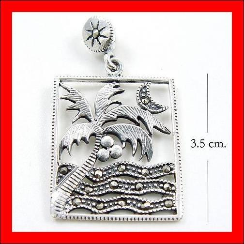 .925 Sterling Silver Marcasite Night Beach Pendants