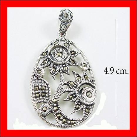 .925 Sterling Silver Marcasite SunFlower Pendants