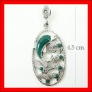 .925 Sterling Silver Green CZ Dolphin Pendants