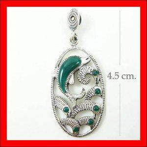 .925 Sterling Silver Green CZ Dolphin Pendants