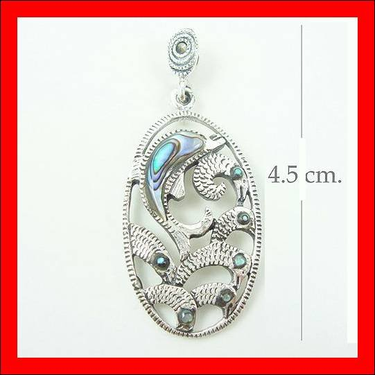 .925 Sterling Silver GreenShell Dolphin Pendants