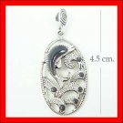 .925 Sterling Silver Onyx Dolphin Pendants
