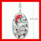 .925 Sterling Silver Red CZ Dolphin Pendants