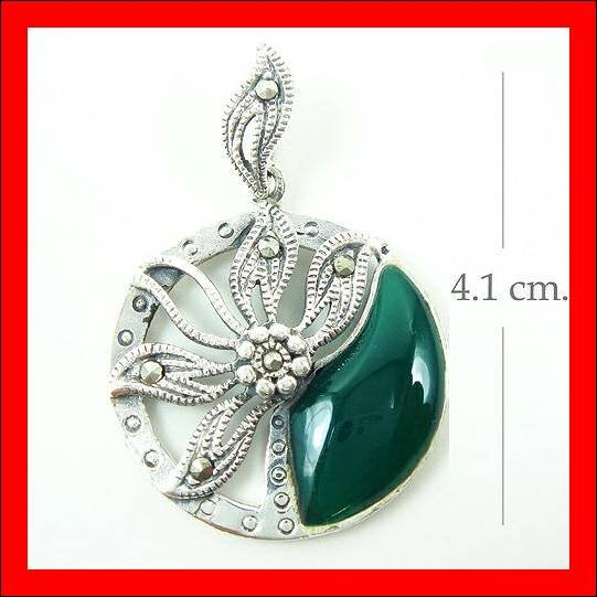 .925 Sterling Silver Green CZ Circle Flower Pendants