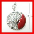 .925 Sterling Silver Red CZ Circle Flower Pendants