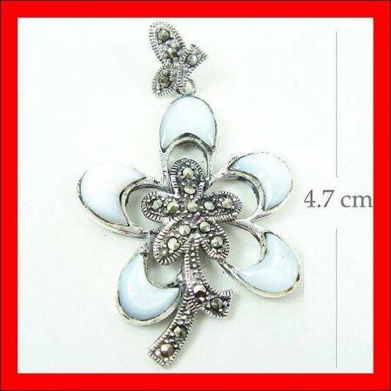.925 Sterling Silver White Shell Flower Pendants