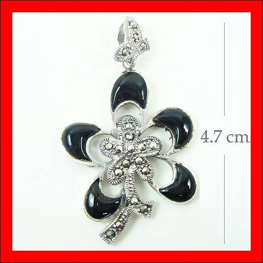 .925 Sterling Silver Onyx Flower Pendants