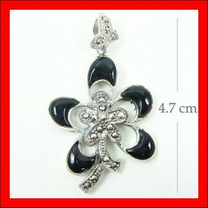 .925 Sterling Silver Onyx Flower Pendants