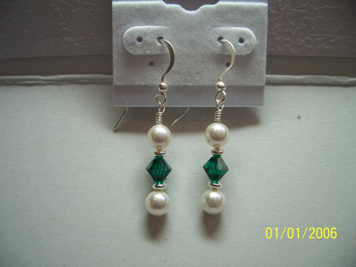 Emerald & White Swarovski Crystal Earrings