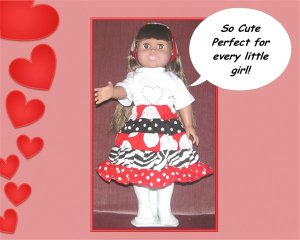 Minnie Dots Doll Skirt with Reversible Headband