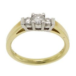 3 Stone 1/2 Carat Diamond 18K Two-Tone Gold Ring