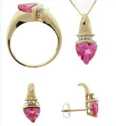 Trillion Pink Topaz and Diamond Gold Ring Earrings Pendant Set