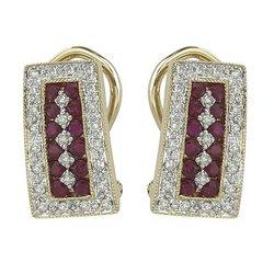 14K Yellow Gold Round Ruby & Diamond Earrings