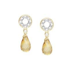 14K Yellow Gold Fancy Shape Citrine & Round Diamond Earrings