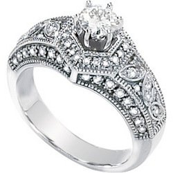 14K White Gold Created Moissanite & Diamond Engagement Ring