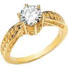 14K Yellow Gold Round Created Moissanite & Diamond Engagement Ring