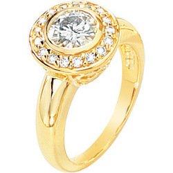 14K White Gold Created Moissanite & Diamond Engagement Ring
