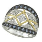 14K White Gold Round Blue Sapphire & Diamond Ring
