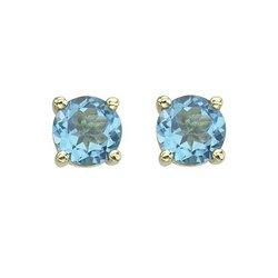 14K Yellow Gold Round Blue Topaz Stud Earrings