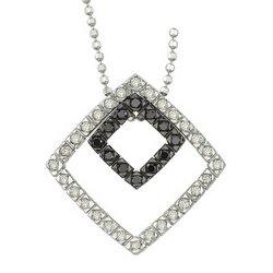 14K White Gold Round White & Black Diamond Pendant & Necklace - Square Design
