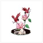 Red Cardinals and Roses in Glass