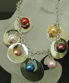 Disc And Multi-Colored Bead Bracelet