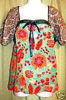 ANTHROPOLOGIE by FEI peasant TOP BLOUSE shirt size 8