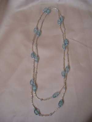 baby blue glass bead double strand necklace