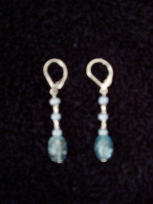 baby blue glass bead earring