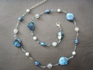 Light blue abolone stone necklace