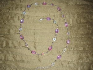 lilac and white glass beaded necklace