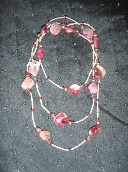 fushia stone beaded double strand handmade necklace