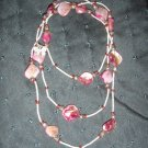 fushia stone beaded double strand handmade necklace