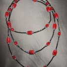 red and black beaded double strand necklace