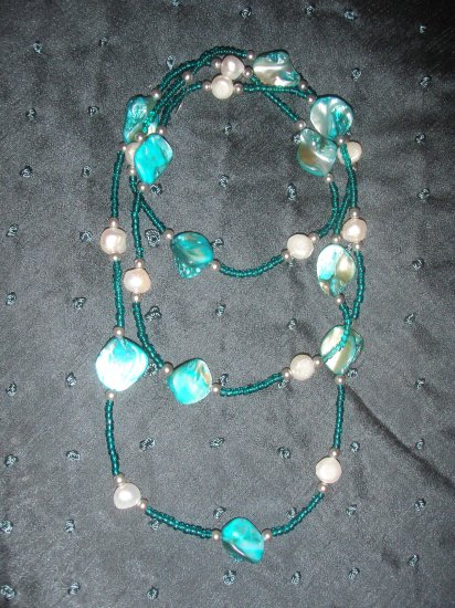 turquoise stone double strand necklace