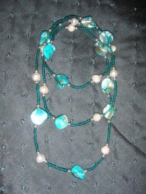 turquoise stone double strand necklace