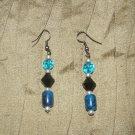 dark blue and black  beaded earring
