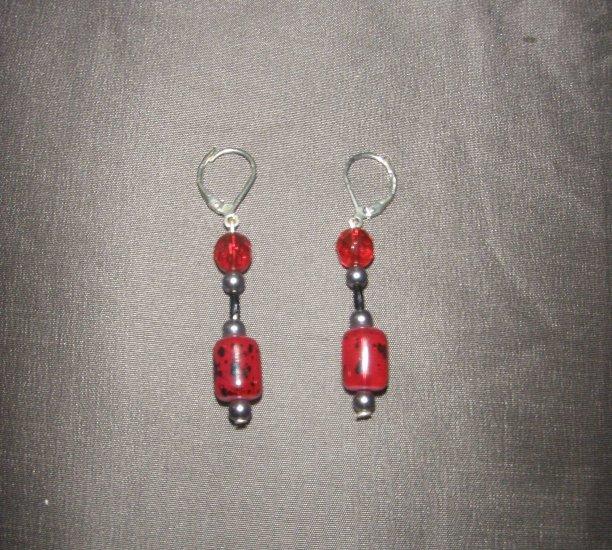 red beaded earring