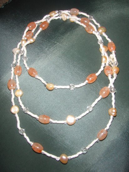 peach marble beaded double strand necklaces