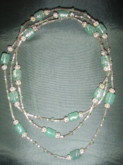 light green beaded double strand handmade  necklace