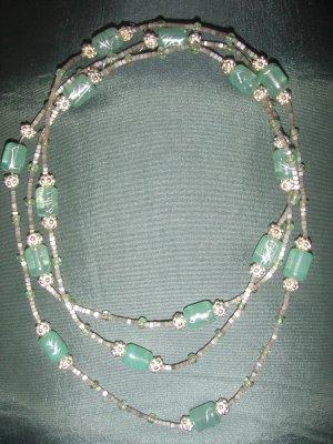 light green beaded double strand handmade  necklace