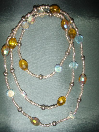 amber crystal beaded double strand necklace