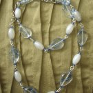 blue streak glass bead with pearl necklace