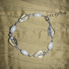 blue streak and pearl bead bracelet