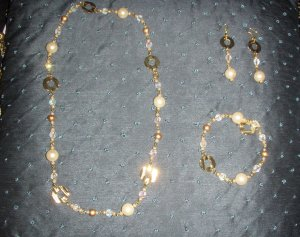 gold and ivory pearl trio