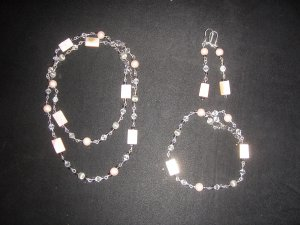 pastel pink with silver and white diamond trio
