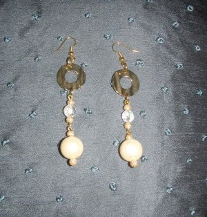gold and ivory pearl beaded earrings