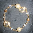 gold and ivory pearl beaded bracelet