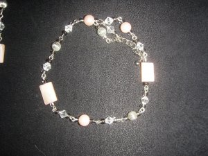 pastel pink with silver and white diamond  bracelet