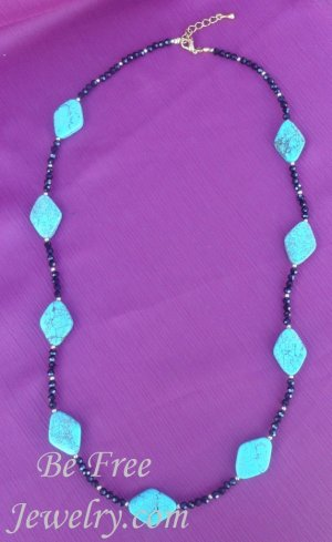 Diamond shaped turquoise with black crystals beaded necklace